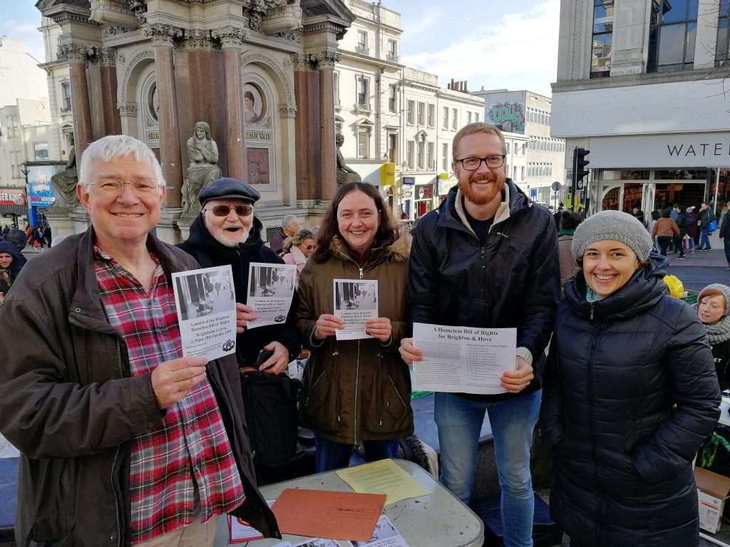 David Thomas, John Hadman and Clara Astill of the Coalition, Lloyd Russell-Moyle MP of Brighton Kemptown, and Maria Aldanas of FEANTSA at the Clocktower.